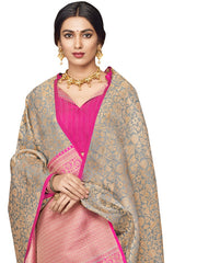 Stylee Lifestyle Women's Banarasi Jacquard Woven Saree in Grey