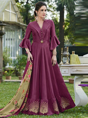 Art Silk Blend Embroidered Gown in Wine