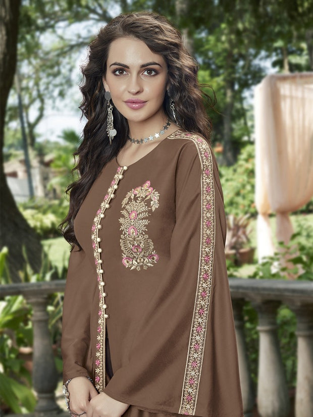 Linen Satin Embroidered Lehenga Style in Brown