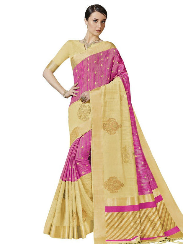 Women's Bhagalpuri Art Silk Saree in Pink