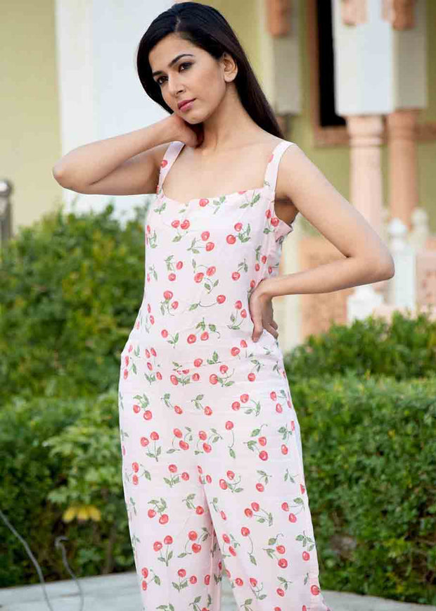 Thread & Button Rayon Printed Jumpsuit in Pink