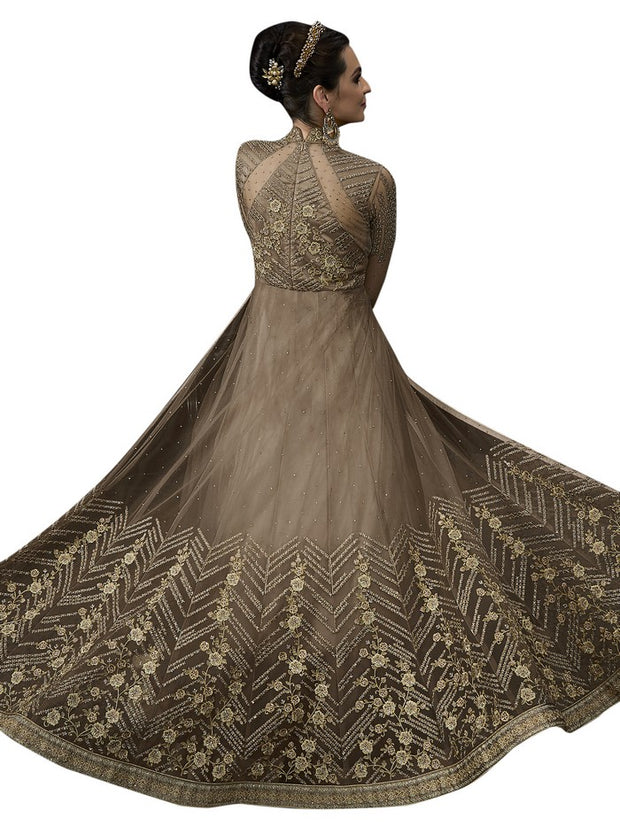 Women's Net Anarkali Set in Brown