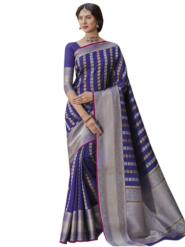 Women's Banarasi Art Silk Saree in Blue