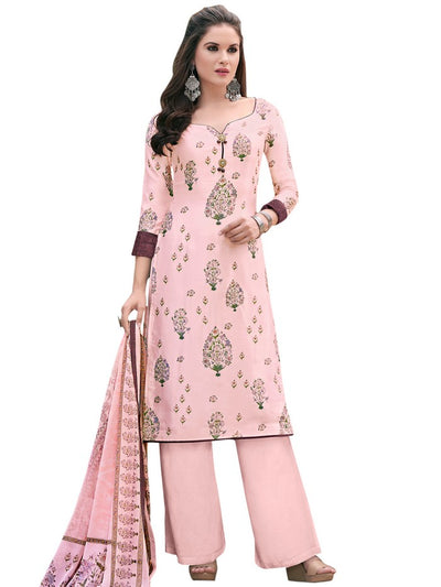 Women's Satin Dress Material in Pink