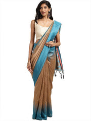 Stylee Lifestyle Women's Ikkat Art Silk Woven Saree in Beige