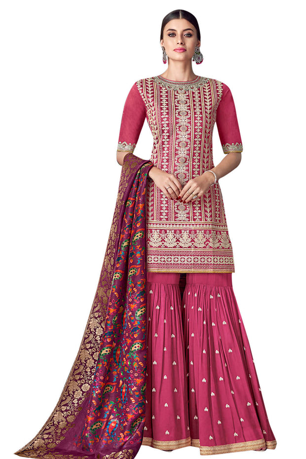 Chanderi Art Silk Embroidered Dress Material in Magenta