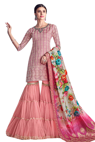 Chanderi Art Silk Embroidered Dress Material in Pink