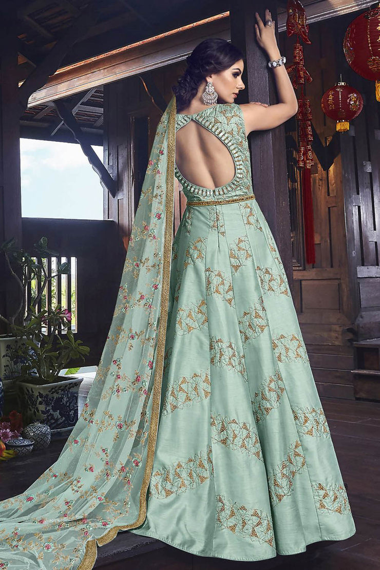 Raw Silk Embroidered Dress Material in Turquoise