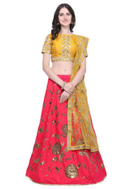 Stylee Lifestyle Silk Blend Embroidered Lehenga Choli in Pink