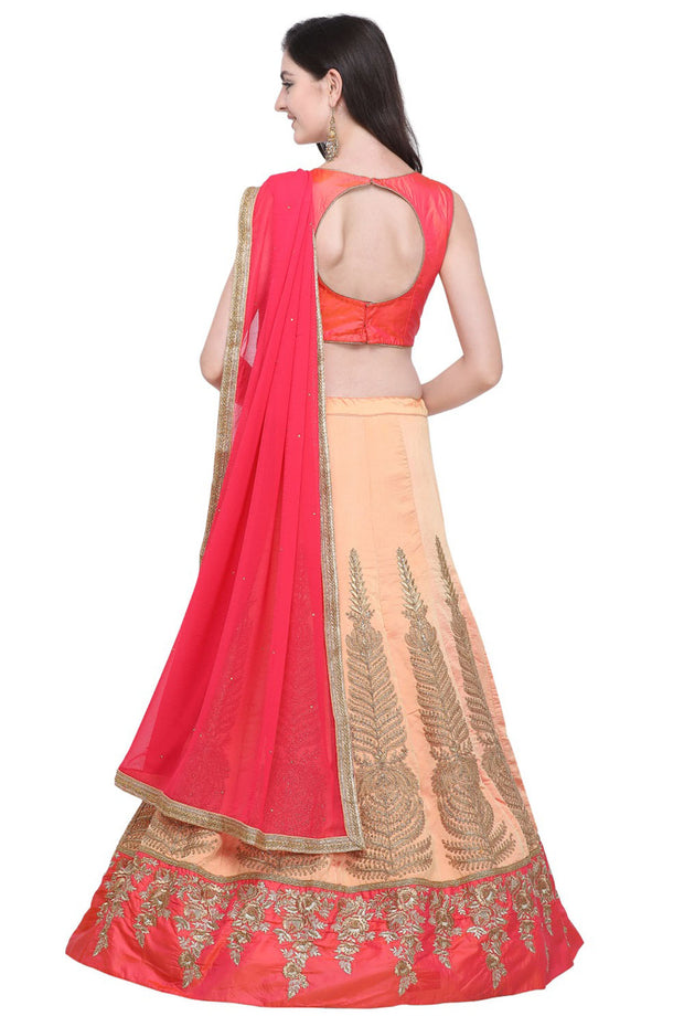 Silk Blend Embroidered Lehenga Choli in Peach