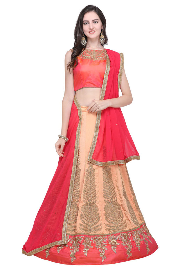 Stylee Lifestyle Silk Blend Embroidered Lehenga Choli in Peach