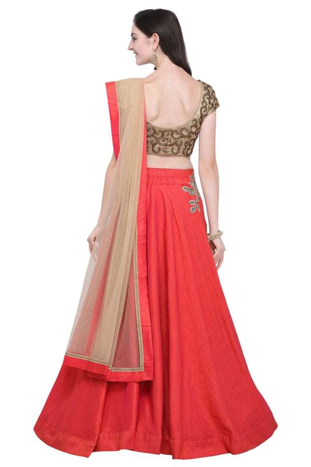 Stylee Lifestyle Raw Silk Embroidered Lehenga Choli in Red
