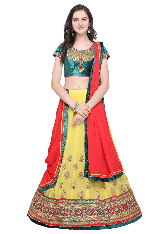 Stylee Lifestyle Georgette Embroidered Lehenga Choli in Yellow