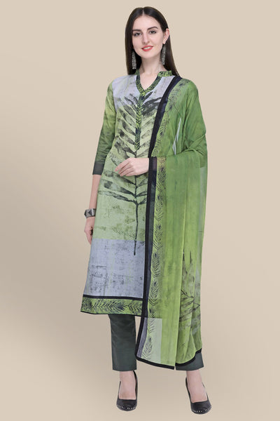 Stylee Lifestyle Cotton Printed Salwar Suit in Green