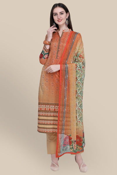 Stylee Lifestyle Cotton Printed Salwar Suit in Orange