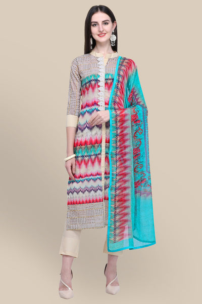 Stylee Lifestyle Cotton Printed Salwar Suit in Cream