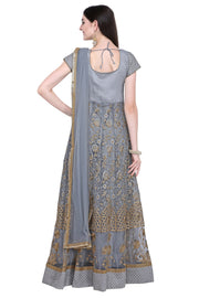 Net Embroidered Dress Material in Grey