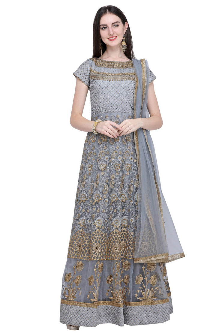 Stylee Lifestyle Net Embroidered Salwar Suit in Grey
