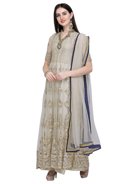 Stylee Lifestyle Net Embroidered Salwar Suit in Cream