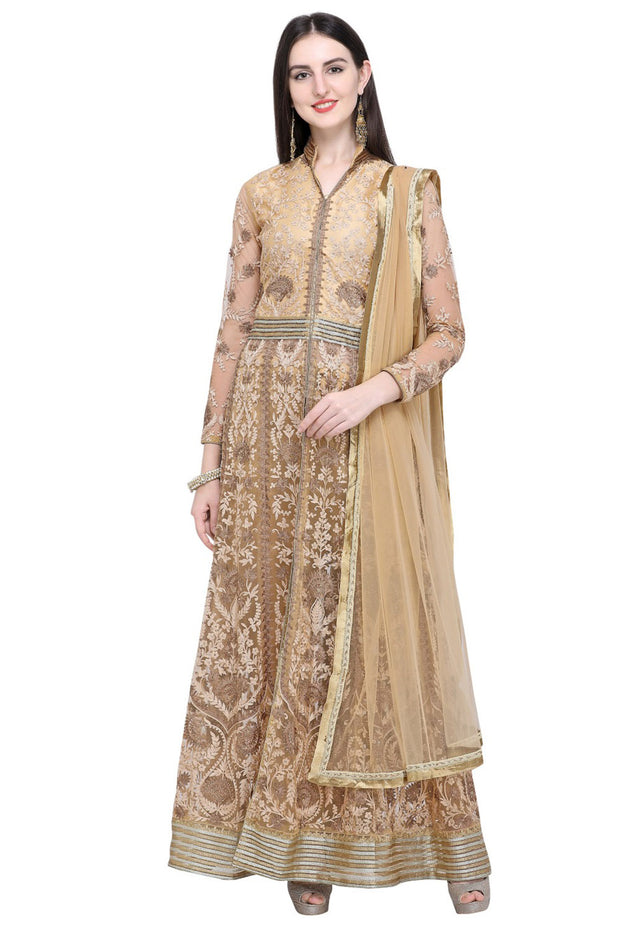 Stylee Lifestyle Net Embroidered Salwar Suit in Beige