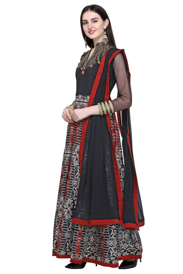 Art Silk Embroidered Dress Material in Black