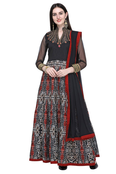 Stylee Lifestyle Art Silk Embroidered Salwar Suit in Black