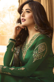 Faux Georgette Embroidered Salwar Kameez in Green