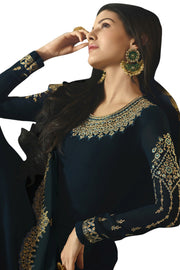 Satin Embroidered Dress Material in Navy Blue