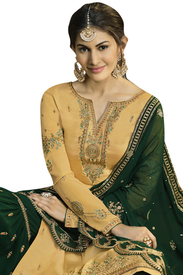 Satin Embroidered Dress Material in Yellow