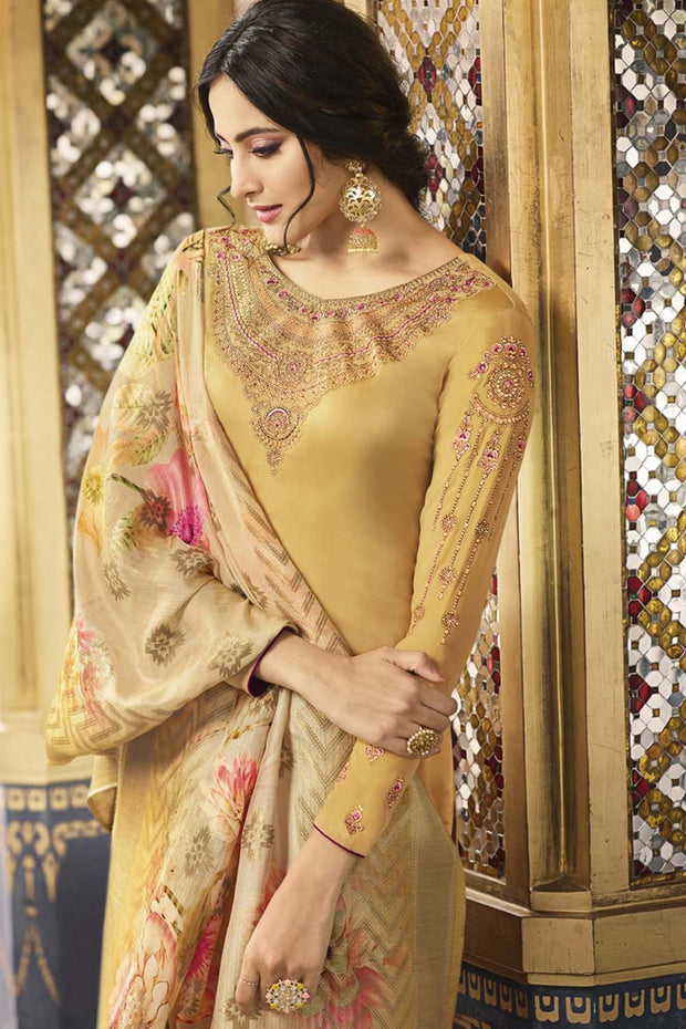 Faux Georgette Embroidered Salwar Kameez in Yellow