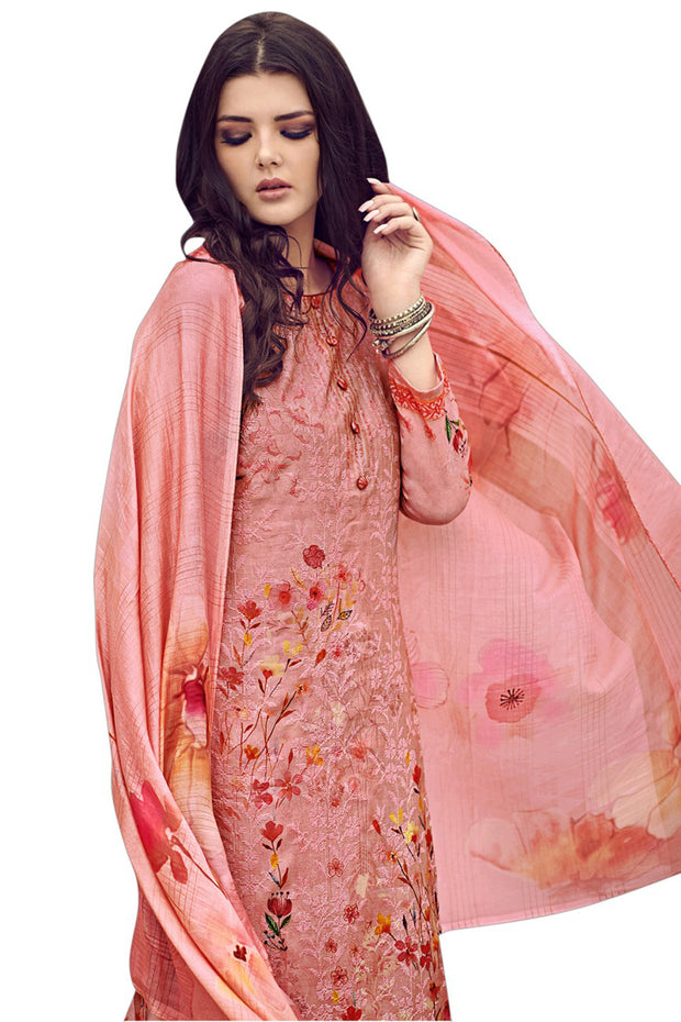 Stylee Lifestyle Art Silk Printed Dress Material in Pink