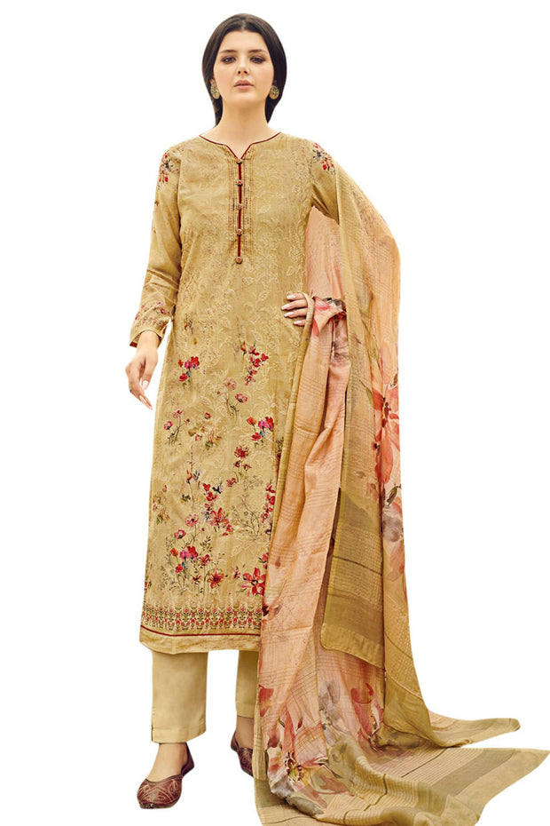 Art Silk Printed Dress Material in Yellow