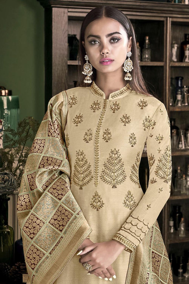 Stylee Lifestyle Satin Embroidered Salwar Suit in Beige