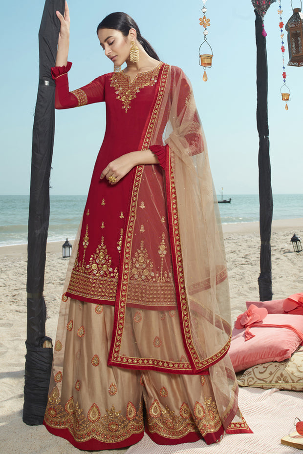 Faux Georgette Embroidered Dress Material in Red