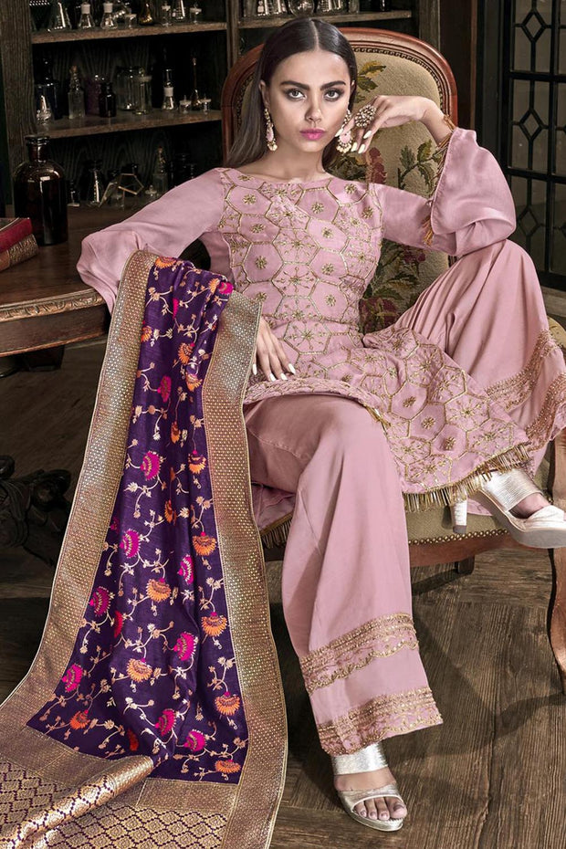 Stylee Lifestyle Satin Embroidered Salwar Suit in Pink