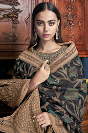Raw Silk Embroidered Dress Material in Black
