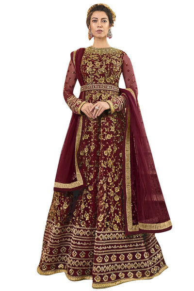 Net Embroidered Dress Material in Maroon