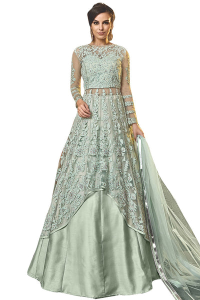Net Embroidered Dress Material in Green