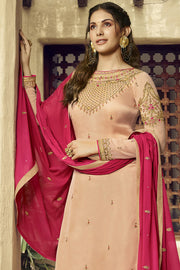 Satin Embroidered Dress Material in Beige