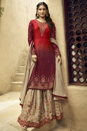 Satin Embroidered Dress Material in Red