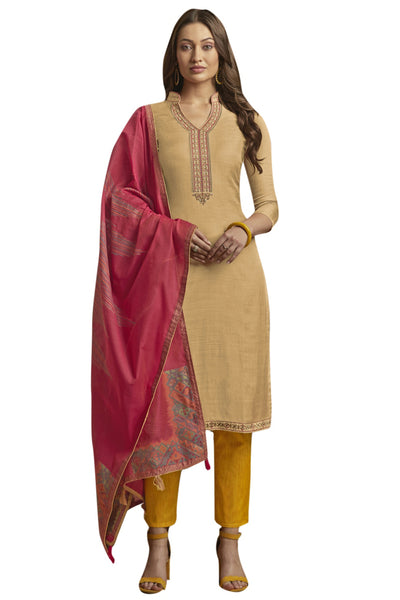 Blended Cotton Embroidered Salwar Suit in Beige