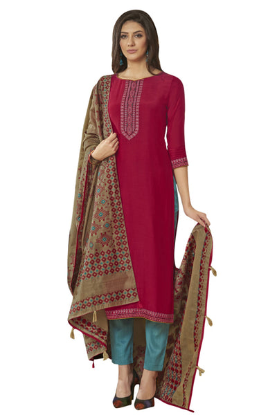 Blended Cotton Embroidered Salwar Suit in Magenta