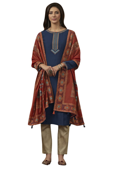 Blended Cotton Embroidered Salwar Suit in Navy Blue