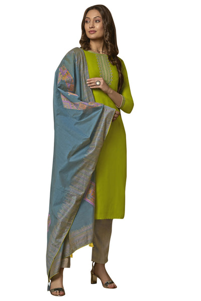 Blended Cotton Embroidered Salwar Suit in Green
