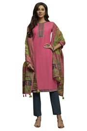 Blended Cotton Embroidered Salwar Suit in Pink