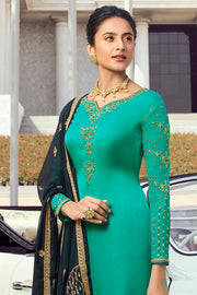 Satin Embroidered Dress Material in Green