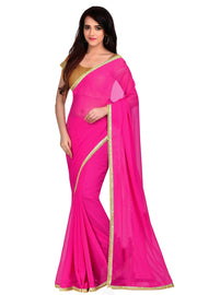 Buy Faux Georgette Saree in Fuchsia Pink