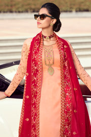 Satin Embroidered Dress Material in Peach