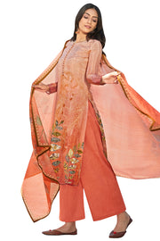 Buy Satin Printed Dress Material In Rust