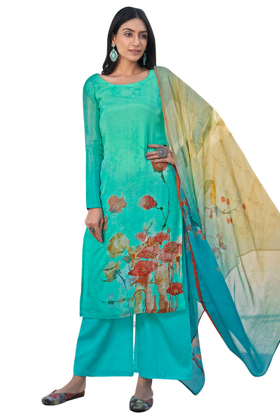 Buy Satin Printed Dress Material In Turquoise